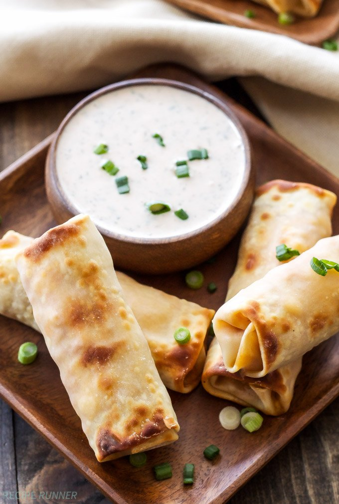 Baked BBQ Chicken Egg Rolls with BBQ Ranch Dipping Sauce - Recipe ...