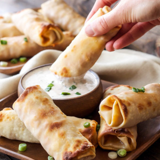Baked BBQ Chicken Egg Rolls with BBQ Ranch Dipping Sauce