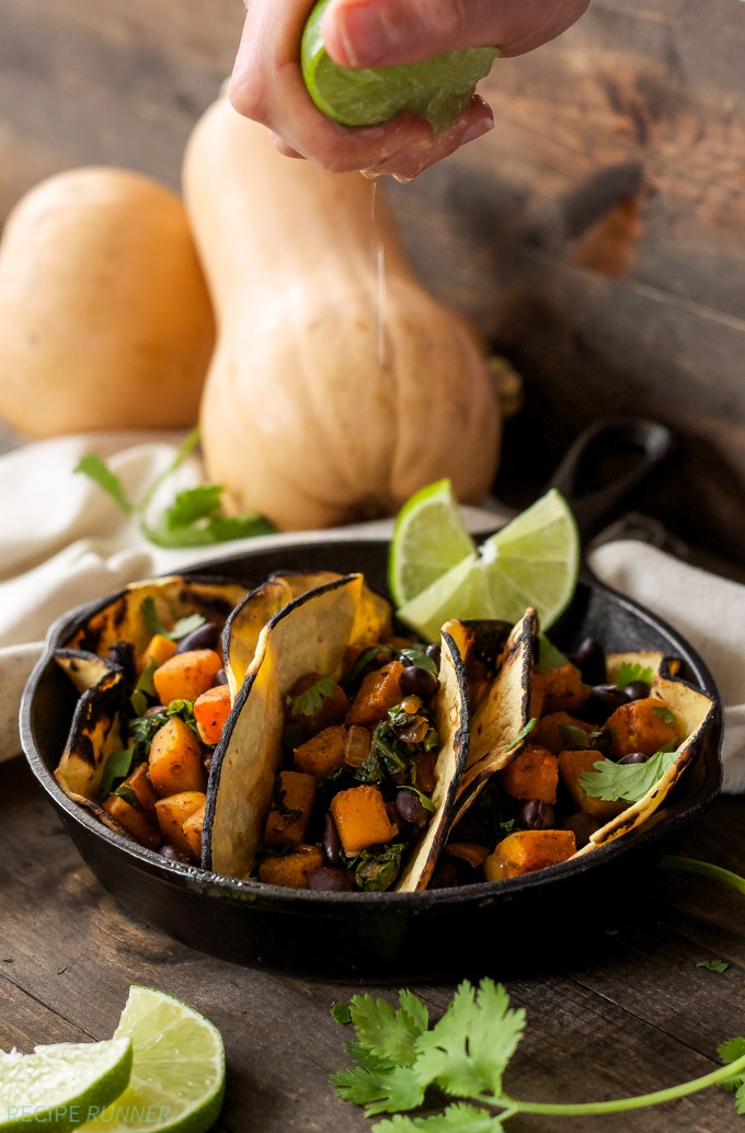 Butternut Squash Black Bean and Kale Tacos | Vegetarian tacos don't ...