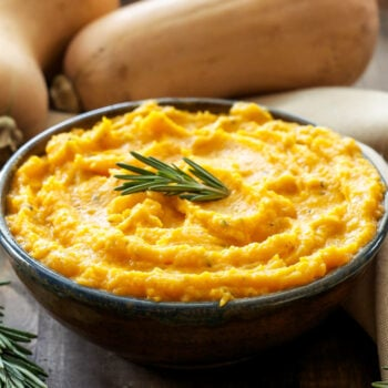 Mashed Butternut Squash with Goat Cheese and Rosemary | Goat cheese & rosemary add richness & fresh piney flavor to mashed butternut squash. A great alternative to potatoes!