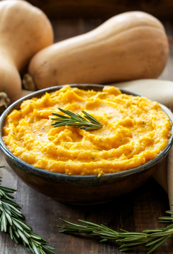 Mashed Butternut Squash with Goat Cheese and Rosemary | Thanksgiving Side Dishes | Homemade Recipes