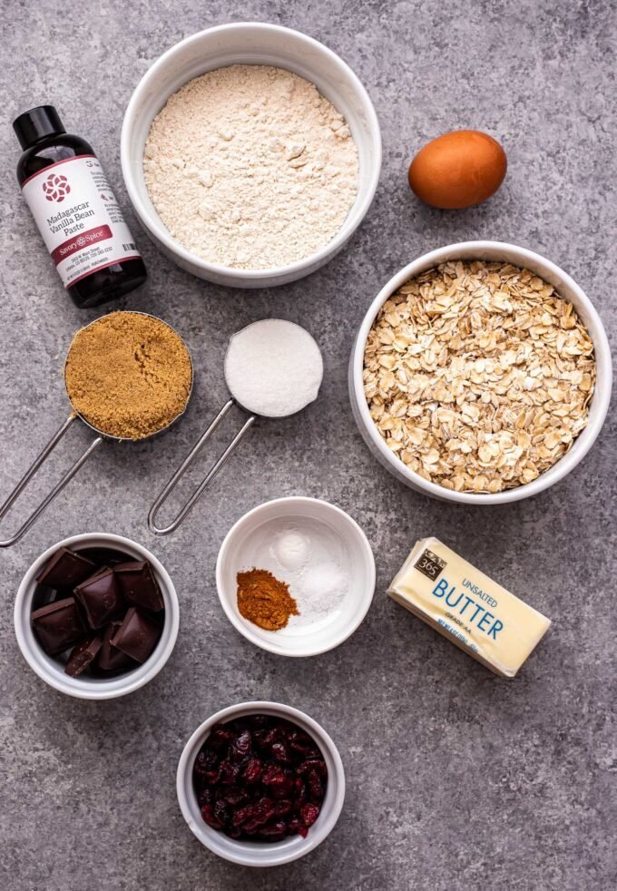 Photo of all of the ingredients needed to make Oatmeal Dark Chocolate Cranberry Cookies