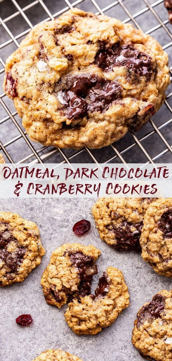 Oatmeal Dark Chocolate Cranberry Cookies Pinterest collage.