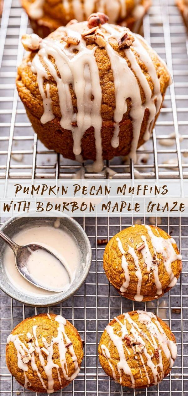 Pumpkin Pecan Muffins with Bourbon Maple Glaze Pinterest collage. Closeup photo of muffin drizzled with the glaze on top and an overhead photo of the muffins drizzled with the glaze on the bottom.