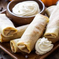 Pumpkin Chocolate Chip Cheesecake Egg Rolls