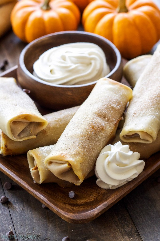 Pumpkin Chocolate Chip Cheesecake Egg Rolls | You won't be able to resist these pumpkin chocolate chip cheesecake dessert egg rolls!