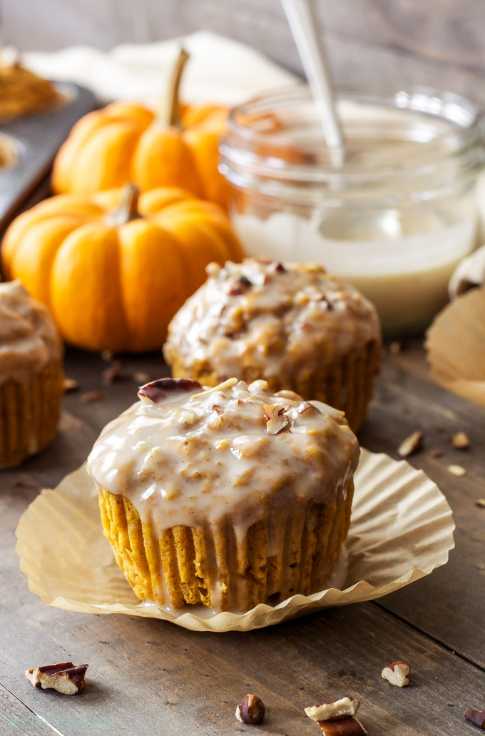 Pumpkin Pecan Muffins with Bourbon Maple Glaze | These aren't your ...