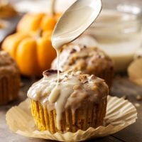 Pumpkin Pecan Muffins with Bourbon Maple Glaze