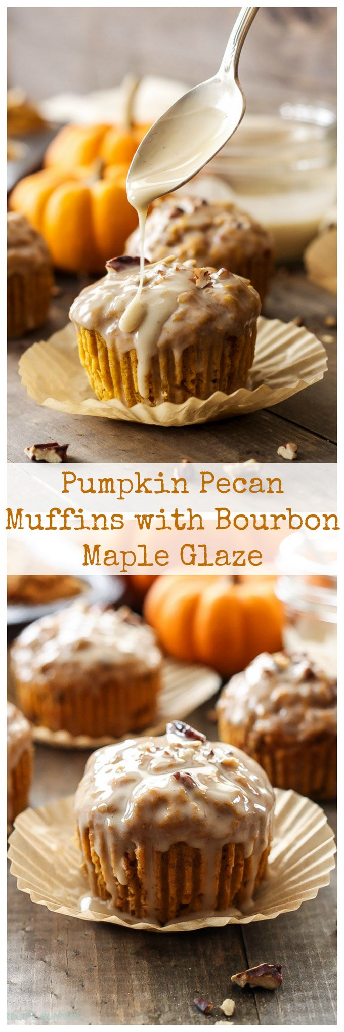 Pumpkin Pecan Muffins with Bourbon Maple Glaze | These aren't your average pumpkin muffins! The bourbon maple glaze puts them over the top!