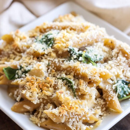 Chicken Caesar Pasta Bake | A creamy pasta bake with all the flavors of chicken Caesar salad!