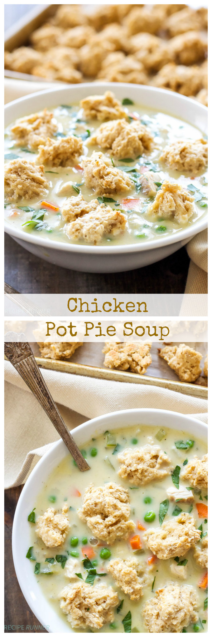 Chicken Pot Pie Soup with Biscuit Crumbles | A fun twist on traditional chicken pot pie is to turn it into a bowl of comforting soup!
