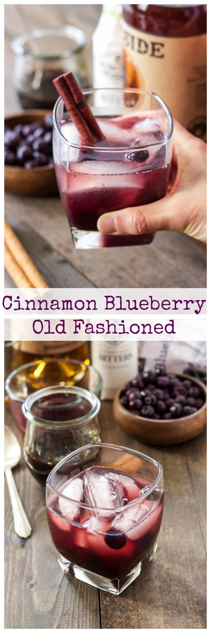 Cinnamon Blueberry Old Fashioned | Give your old fashioned cocktail a holiday twist by adding blueberries and a sweet cinnamon simple syrup! #ad #LittleChanges