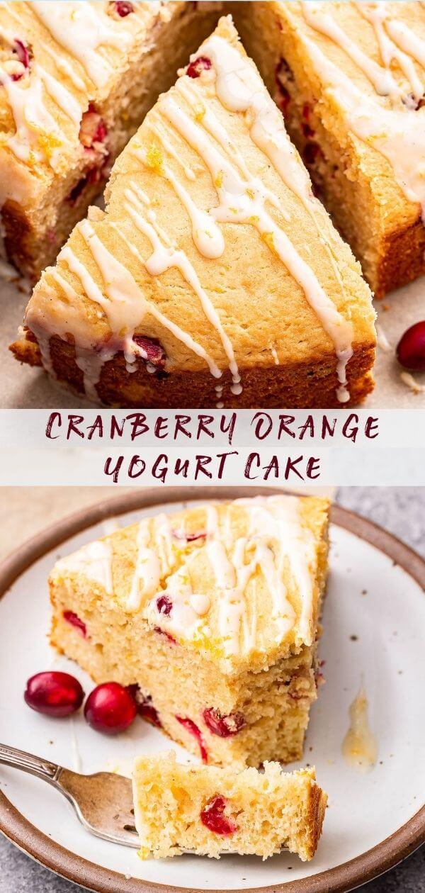 Pinterest collage of the Cranberry Orange Yogurt Cake/