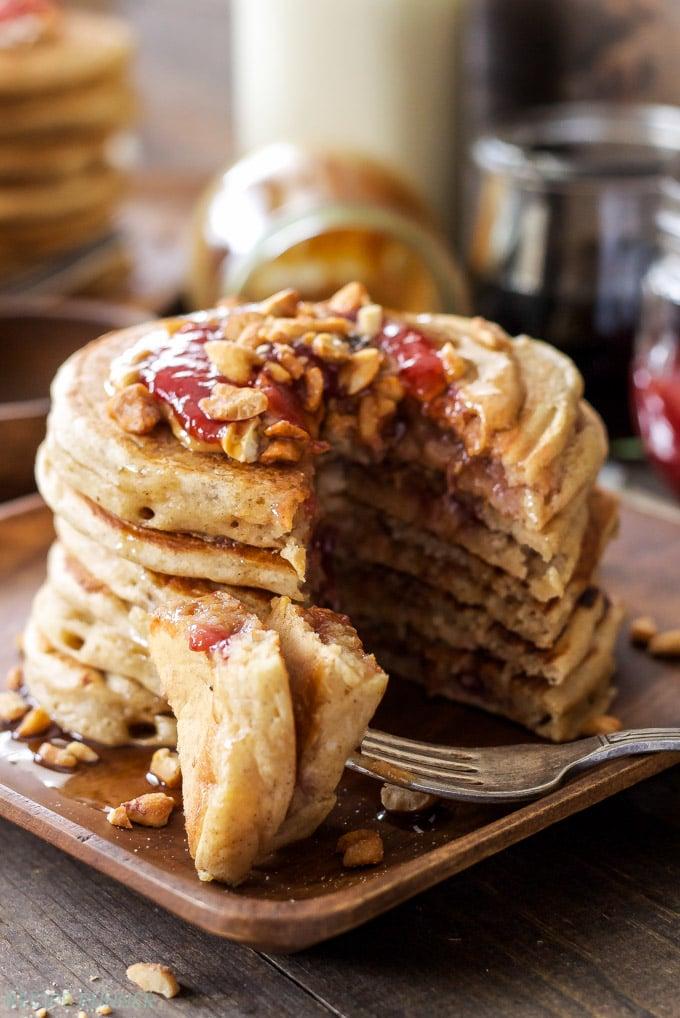 Peanut Butter & Jelly Stuffed Pancakes | Whole wheat pancakes stuffed ...