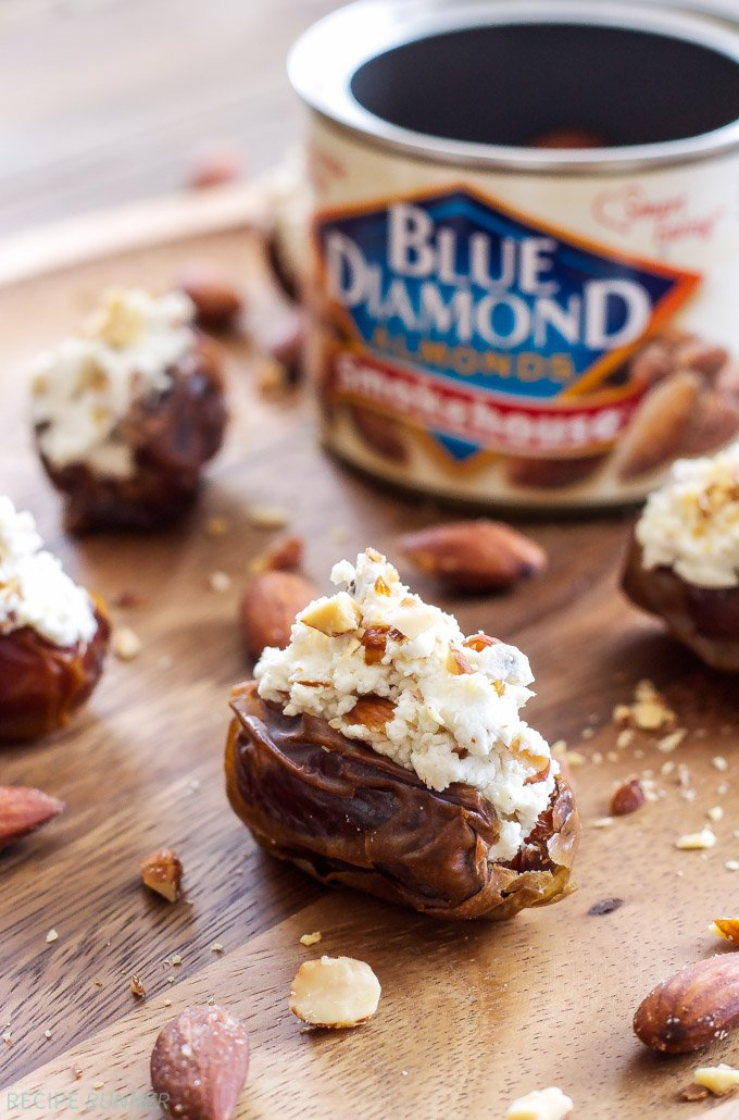 Smoked Almond and Goat Cheese Stuffed Dates | 3 ingredients are all you need to make these sweet, salty, smokey, and creamy stuffed dates!