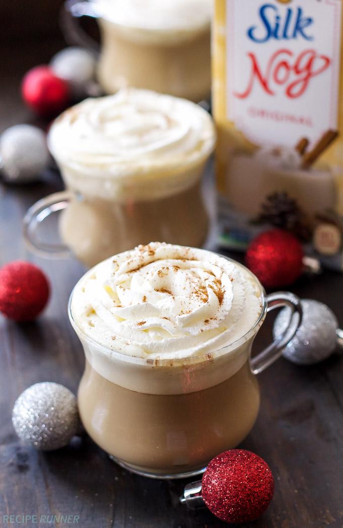 Bourbon Eggnog Latte | Cozy up this holiday season with a dairy-free Bourbon Eggnog Latte! #ad #SilkHolidays