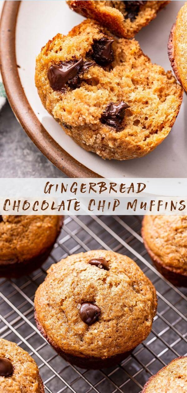 Gingerbread Chocolate Chip Muffins Pinterest collage.