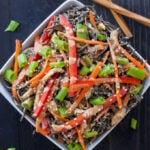 Sesame Chicken Noodle Bowls | Skip the take-out and make these healthy, protein filled, Asian inspired noodle bowls instead!