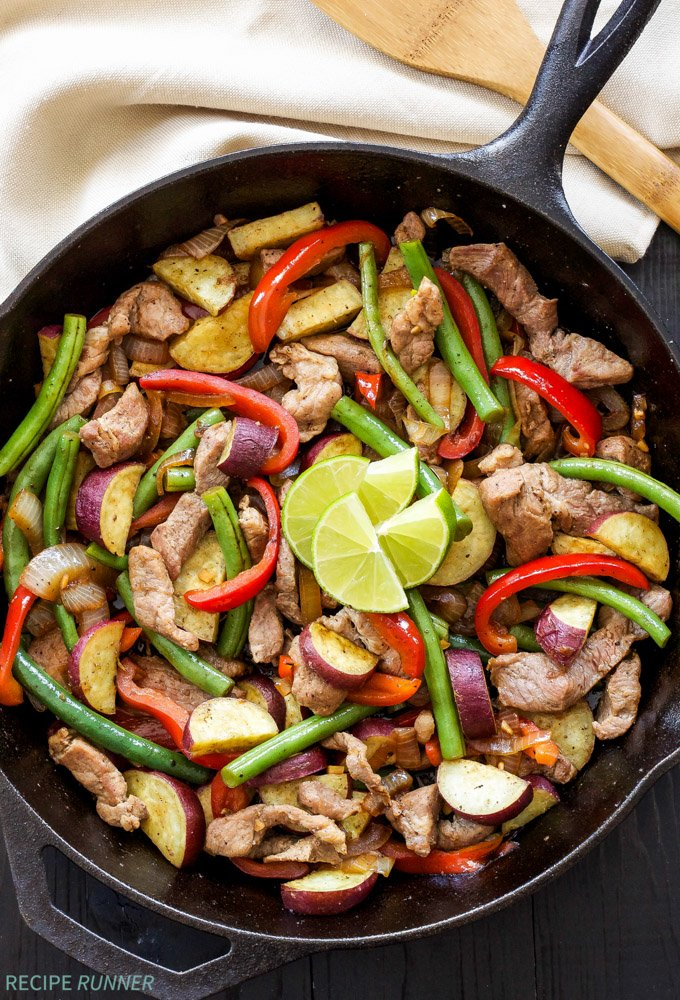 Sun Basket Review and Giveaway | Pork stir-fry with green beans, peppers and Japanese sweet potato