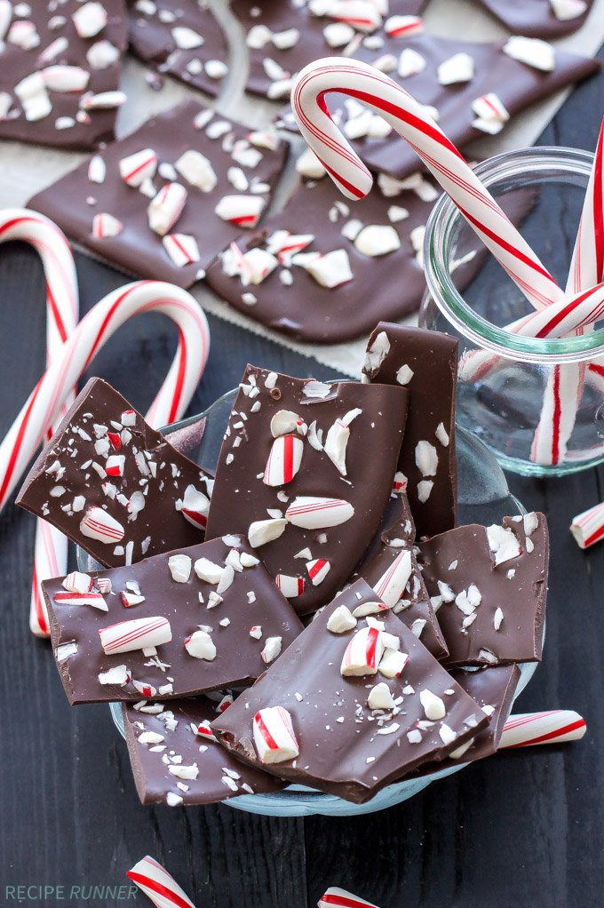 Two Ingredient Dark Chocolate Peppermint Bark | 2 ingredients are all you need to make this dark chocolate peppermint bark! One of the easiest desserts I've ever made!