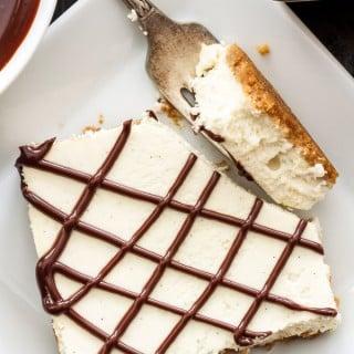 Vanilla Bean Cheesecake Bars with Chocolate Ganache