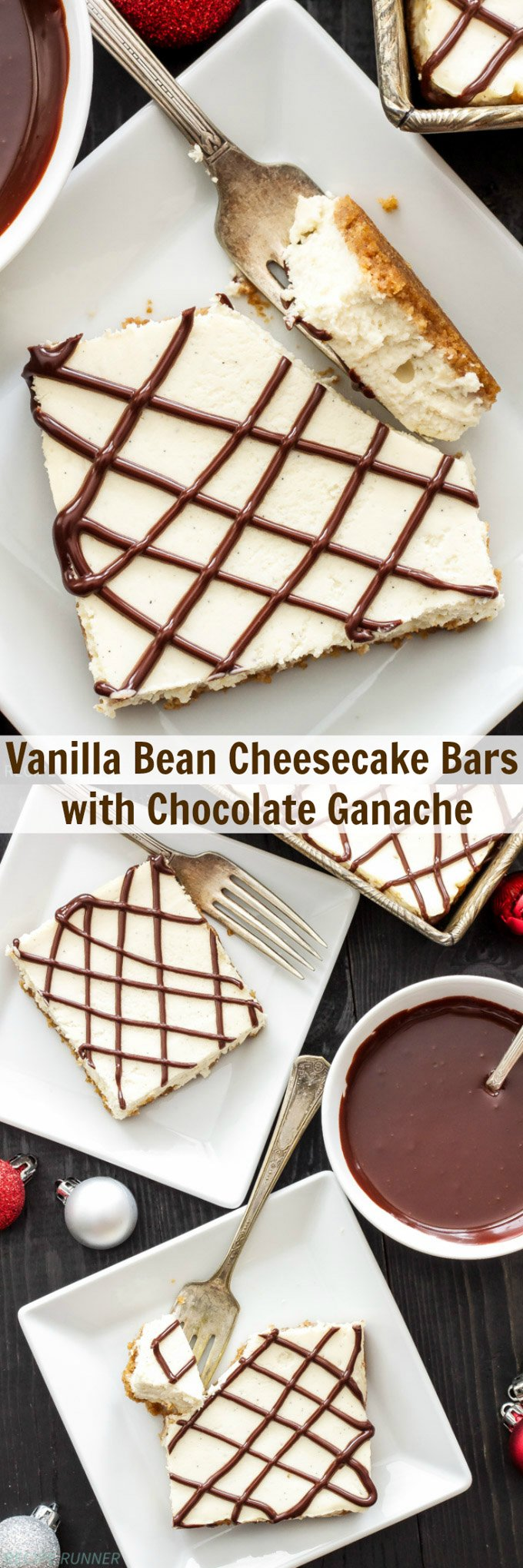 Vanilla Bean Cheesecake Bars with Chocolate Ganache | These lightened up vanilla cheesecake bars are the perfect holiday treat! #ZingBakingHoliday