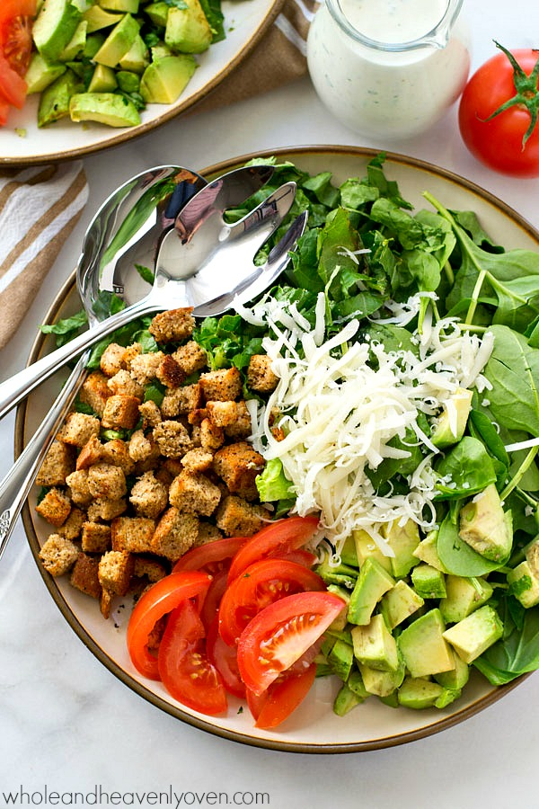 Avocado Spinach Caesar Salad with Light Buttermilk Dressing