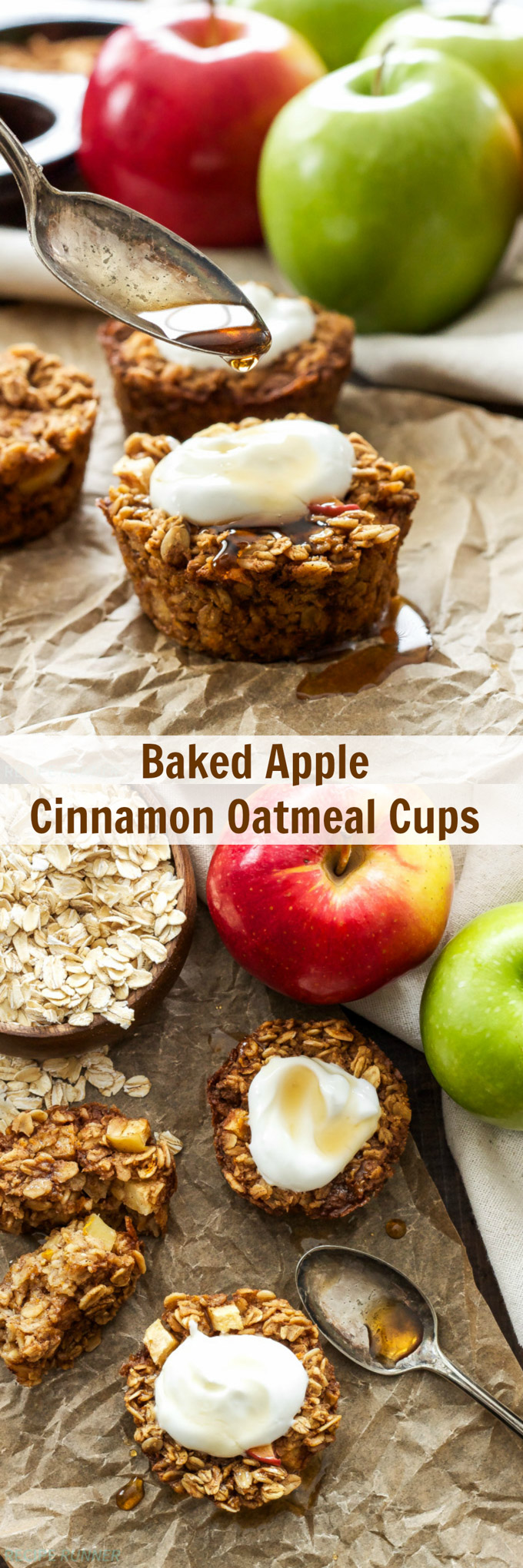 Baked Apple Cinnamon Oatmeal Cups | Both kid & adult friendly, these healthy, gluten-free Baked Apple Cinnamon Oatmeal Cups are a great grab-and-go breakfast or snack!
