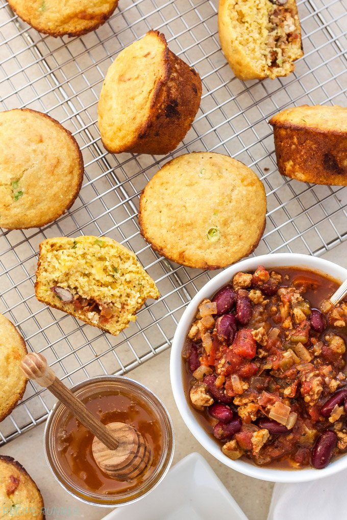 Chili Stuffed Cornbread Muffins | These Chili Stuffed Cornbread Muffins are a fun way to eat your chili and cornbread all in one bite!