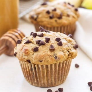 Whole Wheat Peanut Butter Banana Chocolate Chip Muffins | These 100% Whole Wheat Peanut Butter, Banana, Chocolate Chip muffins are 100% delicious!