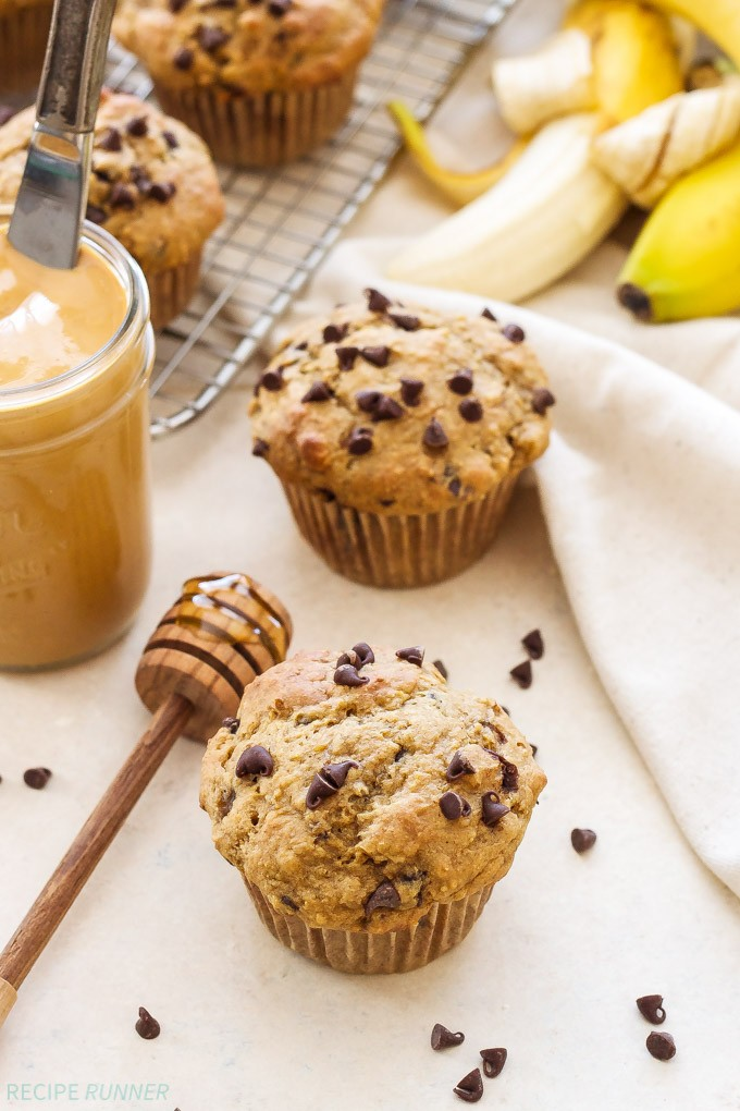 Whole Wheat Peanut Butter, Banana, Chocolate Chip Muffins