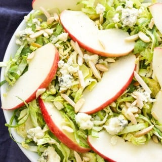 Apple, Almond and Blue Cheese Brussels Sprouts Salad