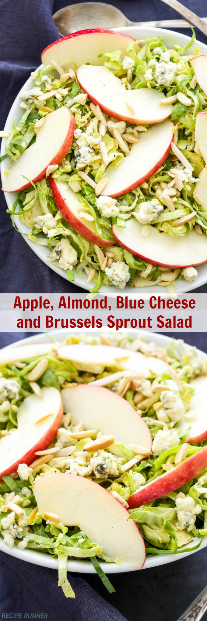 Apple, Almond and Blue Cheese Brussels Sprout Salad |This Apple, Almond and Blue Cheese Brussels Sprouts Salad is savory, sweet and full of crunch! The perfect side dish to serve with dinner!