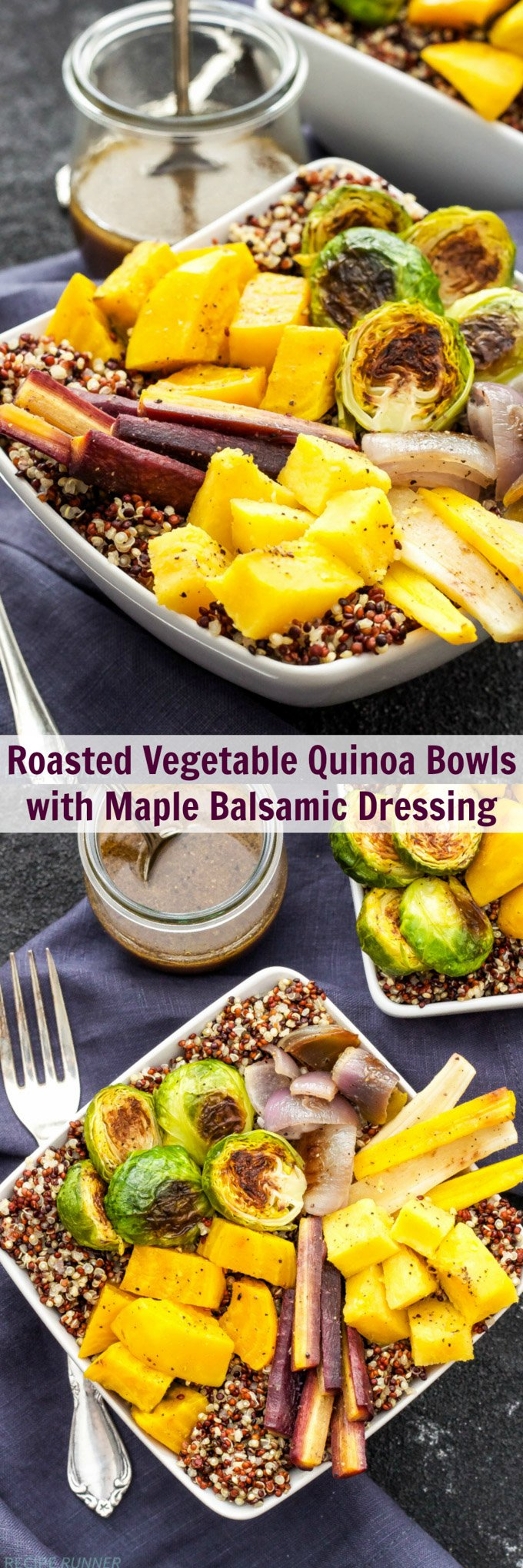 Roasted Vegetable Quinoa Bowls | Quinoa bowls topped with roasted vegetables and maple balsamic dressing are a healthy, gluten-free and vegan dinner you need to try!