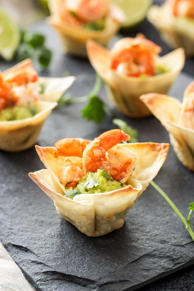 Tequila Lime Shrimp Taco Bites in a baked wonton wrapper