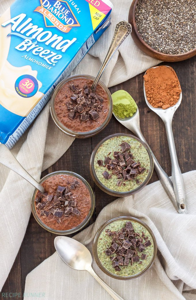 Chocolate and Matcha Chia Pudding Parfaits | Craving something delicious and sweet? Try these super easy, dairy-free, vegan and paleo, Chocolate and Matcha Chia Pudding Parfaits!
