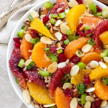 Citrus and Wild Rice Salad  Healthy, whole grain, gluten-free and vegan! This amazing Citrus and Wild Rice Salad will have you coming back for seconds and thirds! #ThinkRice #Sponsored