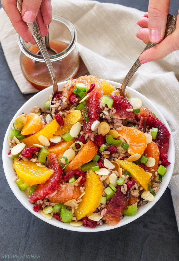 Citrus and Wild Rice Salad |Healthy, whole grain, gluten-free and vegan! This amazing Citrus and Wild Rice Salad will have you coming back for seconds and thirds! #ThinkRice #Sponsored