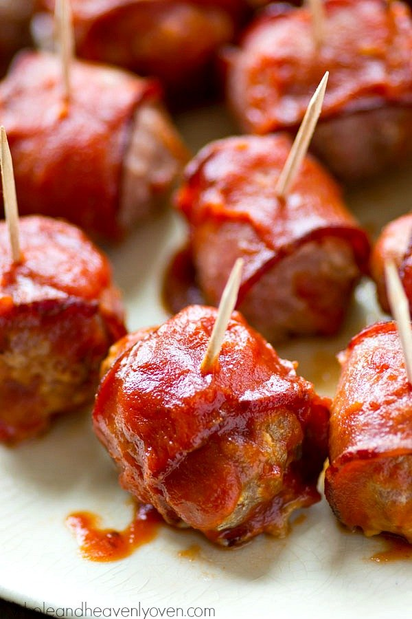Crockpot BBQ Bacon Wrapped Turkey Meatballs