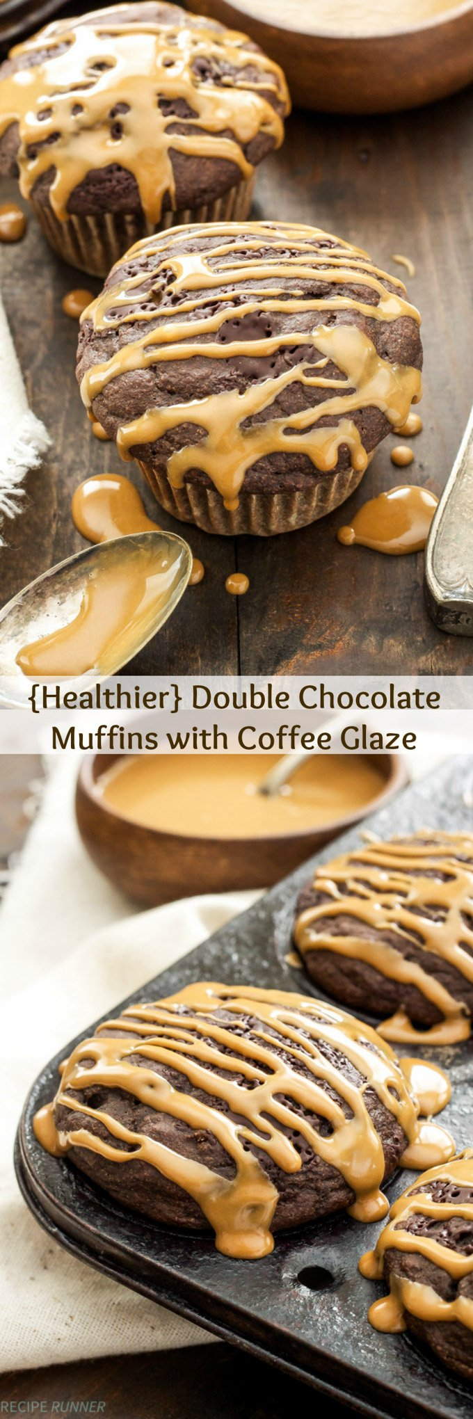 Healthier Double Chocolate Muffins with Coffee Glaze | All the decadence of a chocolate cupcake, but at less than 180 calories per muffin they're perfectly acceptable for breakfast!