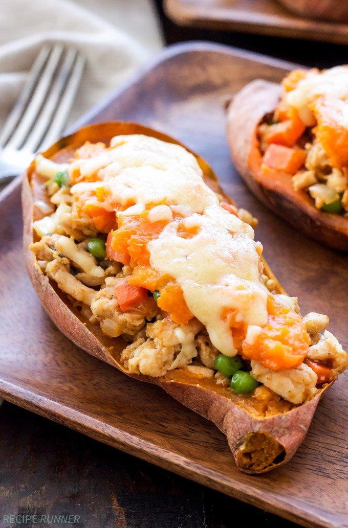 Turkey Shepherd's Pie Stuffed Sweet Potatoes | These non-traditional Turkey Shepherd's Pie Stuffed Sweet Potatoes are a fun, healthy and delicious twist one of the classic St. Patrick's Day meals!