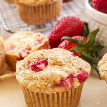 Whole Wheat Strawberry Cheesecake Muffins   100% whole wheat, loaded with strawberries and stuffed with a dollop of creamy cheesecake filling! Perfect for a spring brunch!