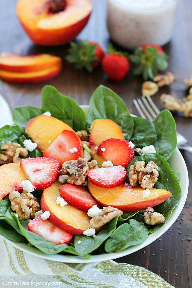 Spinach Salad with Strawberries, Peaches, Candied Walnuts & Poppyseed Dressing