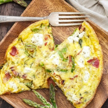 Asparagus Bacon and Herbed Goat Cheese Frittata   This 5-ingredient Asparagus, Bacon and Herbed Goat Cheese Frittata is full of flavor and makes a hearty breakfast, lunch or dinner!