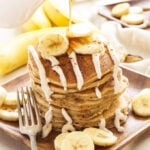Banana Bread Pancakes with Cinnamon Cream Cheese Glaze | Pancakes that taste just like a slice of banana bread straight from the oven! Perfect for brunch!