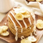 Banana Bread Pancakes with Cinnamon Cream Cheese Glaze   Pancakes that taste just like a slice of banana bread straight from the oven! Perfect for brunch!
