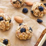 Blueberry Almond Energy Bites | A healthy, portable, one bite snack perfect for eating before or after a workout!