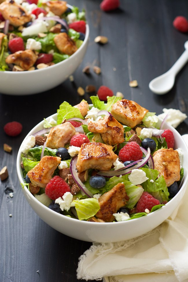 Blueberry Goat Cheese Chicken Salad with Peanut Lime Dressing