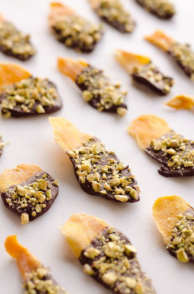Chocolate Pistachio Covered Mangoes