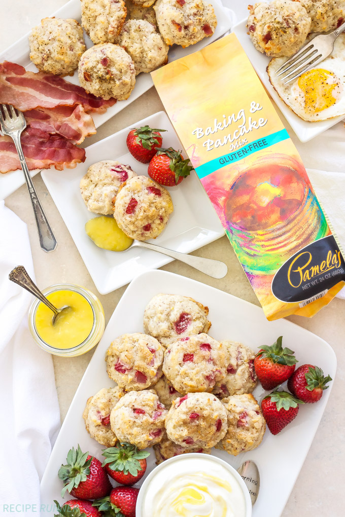 Easy Gluten-Free Drop Biscuits Two Ways | Every brunch needs a biscuit and now you can make these Easy Gluten-Free Drop Biscuits Two Ways! Sweet Strawberry Biscuits with Lemon Curd Whipped Cream and savory Black Pepper, Bacon, Gruyere Biscuits! #sponsored
